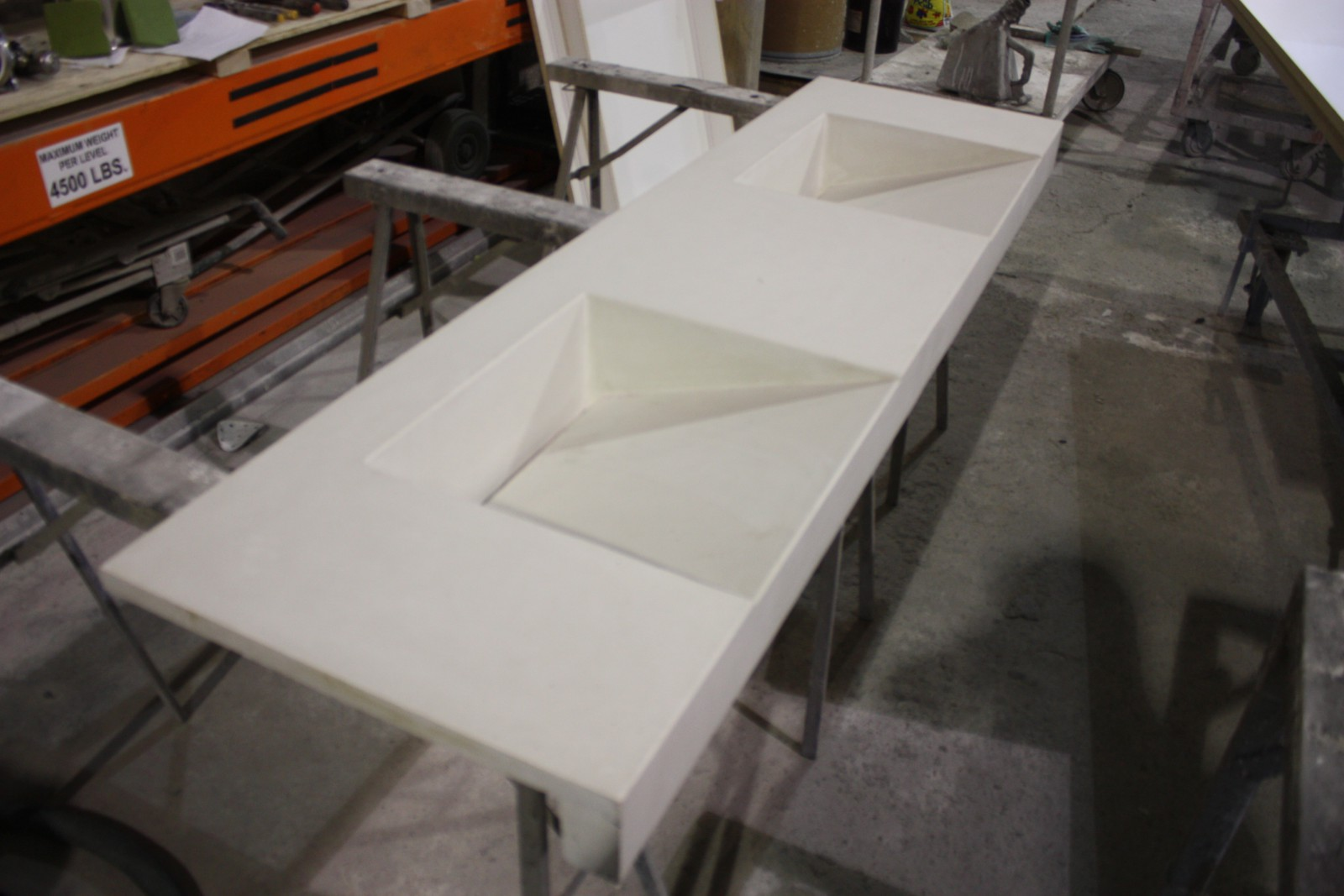 Natural White Double Basin Ramp Sink Top